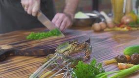 Cozinheiro do cozinheiro chefe que prepara o ingrediente para cozinhar o marisco no restaurante italiano Cozinhe o caranguejo viv filme