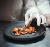 Cozinheiro do cozinheiro chefe do restaurante que prepara a faixa e os vegetais salmon foto de stock royalty free