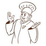 Cozinheiro do cozinheiro chefe. Caráter do desenho da mão dos desenhos animados Ilustração Stock
