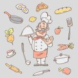 Cozinheiro do esboço do desenho e vários objetos da cozinha Imagem de Stock Royalty Free