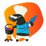 Cozinheiro do tubarão que come peixes. Preparando o almoço. Fotos de Stock
