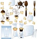 Cozinheiro e mãos do desenhador constitutivos para o restaurante Foto de Stock