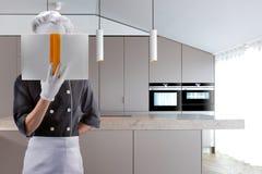Cozinheiro em uma cozinha com LIVRO rendição 3d De alta resolução Fotografia de Stock