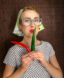 Cozinheiro engraçado da mulher Fotos de Stock Royalty Free