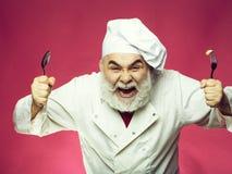 Cozinheiro farpado com colher e forquilha fotos de stock royalty free
