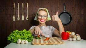 Cozinheiro feliz da mulher Imagens de Stock