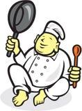 Cozinheiro gordo Sitting Cartoon do cozinheiro chefe da Buda Imagens de Stock Royalty Free
