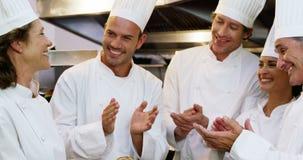 Cozinheiro gourmet que aplaude seu colega vídeos de arquivo