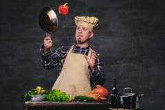 Cozinheiro masculino do cozinheiro chefe que prepara refeições em uma bandeja Foto de Stock Royalty Free