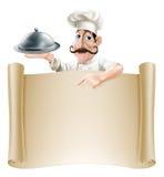 Cozinheiro Menu Scroll dos desenhos animados Foto de Stock Royalty Free
