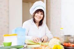 Cozinheiro na cozinha Fotografia de Stock Royalty Free