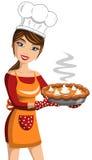 Cozinheiro Thanksgiving Pumpkin Pie da mulher ilustração do vetor