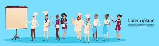 Cozinheiro And Waiters Presentation Flip Chart do material do restaurante, bandeira do grupo de raça de Team Training Conference  Imagem de Stock Royalty Free