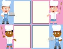 Cozinheiros chefe e menu ilustração royalty free