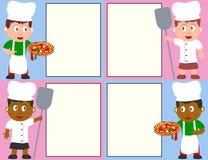 Cozinheiros chefe e menu da pizza Fotos de Stock