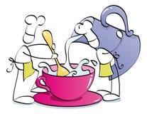 Cozinheiros chefe engraçados que preparam o café ilustração stock