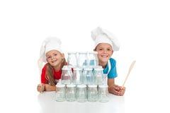Cozinheiros chefe felizes prontos para enlatar Fotografia de Stock