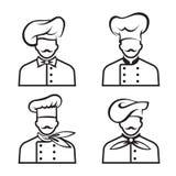 Cozinheiros chefe Mustachioed ajustados Imagens de Stock Royalty Free