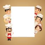 Cozinheiros chefe que apresentam a bandeira vertical vazia Fotos de Stock Royalty Free