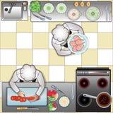 Cozinheiros na cozinha, a vista superior ilustração do vetor