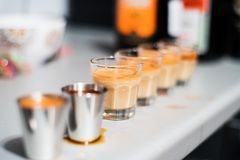 Cozonac shooters on a table Royalty Free Stock Photos
