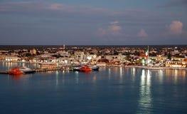 Cozumel,墨西哥晚上视图 库存图片