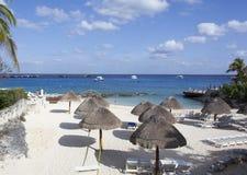 Cozumel Beach. Still empty beach in the morning on Cozumel island (Mexico Royalty Free Stock Image