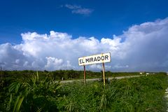 Cozumel island El Mirador road sign Mexico. Cozumel island El Mirador road sign in Riviera Maya of Mayan Mexico Royalty Free Stock Photos