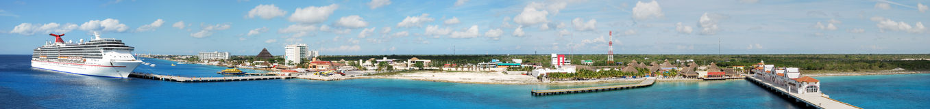 Cozumel Island Panorama. The panoramic view of Cozumel island, one of the most popular ports of call in Caribbean (Mexico Stock Photography