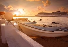 Cozumel island in Riviera Maya of Mexico. Cozumel island sunset in Riviera Maya of Mayan Mexico Stock Image
