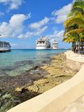 Cozumel, Mexico - January 19, 2017: cruise ships, Hamony of the Seas, and Rhapsody of the Seas docked at the port of Cozumel, Mexi Stock Image