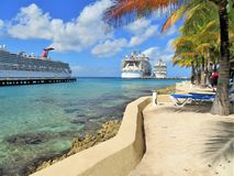 Cozumel, Mexico - January 19, 2017: cruise ships, Hamony of the Seas, and Rhapsody of the Seas docked at the port of Cozumel, Mexi Stock Photo