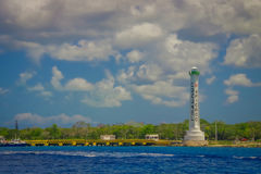 COZUMEL, MEXICO - MARCH 23, 2017: Beautiful attraction of Cozumel with some natural buildings and yachts, gorgeous blue Stock Images