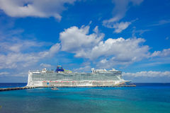 COZUMEL, MEXICO - MARCH 23, 2017: The beautiful cruise Norwegian Epic, in Cozumel Port visit the island.  Stock Images