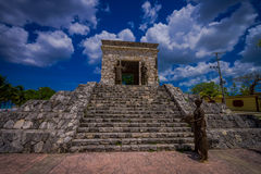 COZUMEL, MEXICO - MARCH 23, 2017: The monument of two cultures monument near the site of the first Catholic mass Royalty Free Stock Photography