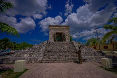 COZUMEL, MEXICO - MARCH 23, 2017: The monument of two cultures monument near the site of the first Catholic mass Stock Photography