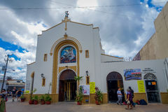 COZUMEL, MEXICO - MARCH 23, 2017: San Miguel Church is full of turist that made lose their original atractive Royalty Free Stock Images