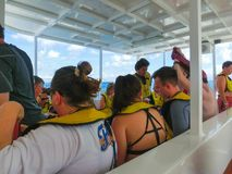 Cozumel, Mexico - May 04, 2018: The people at snorkeling underwater and fishing tour by boat at the Caribbean Sea. In Cozumel, Mexico royalty free stock images