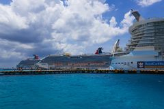 Cozumel, Mexico - May 04, 2018: Royal Carribean cruise ship Oasis of the Seas docked in the Cozumel port during one of stock photography