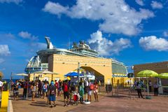 Cozumel, Mexico - May 04, 2018: Royal Carribean cruise ship Oasis of the Seas docked in the Cozumel port during one of Royalty Free Stock Images
