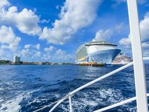 Cozumel, Mexico - May 04, 2018: Royal Carribean cruise ship Oasis of the Seas docked in the Cozumel port during one of royalty free stock photos