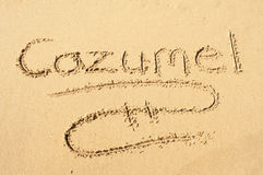 Cozumel. A picture of the word Cozumel drawn in the sand Stock Image