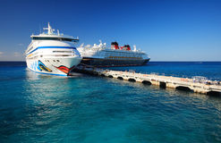 Cozumel pier. With the ship in  mexico Stock Image
