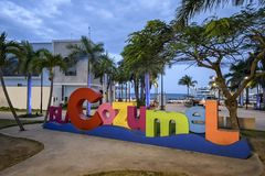 The Cozumel selfie sign at dusk on the main square of the island stock images