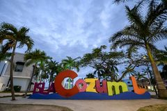 The Cozumel selfie sign at dusk on the main square of the island. In Mexico stock photo