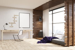 Cozy appartment in city. Big city apartment with desk and chair. Bed near widow. Poster on wall. Big window. Concept of cozy apartment. 3d rendering. Mock up Stock Image