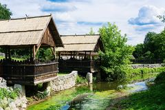 Cozy arbors on the old river. Beautiful landscape nature Royalty Free Stock Image