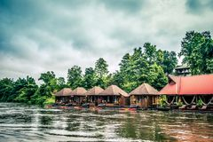 Cozy atmosphere and natural touch along Kwai Noi River,Sai Yok,Kanchanaburi,Thailand.With beautiful raft houses. Kwai Noi or Kwai Sai Yok is a river in western royalty free stock images