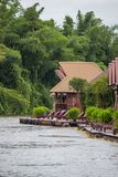 Cozy atmosphere and natural touch along Kwai Noi River,Sai Yok,Kanchanaburi,Thailand.With beautiful raft houses. Kwai Noi or Kwai Sai Yok is a river in western stock images