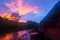 Cozy atmosphere and natural touch along Kwai Noi River,Sai Yok,Kanchanaburi,Thailand.With beautiful twilight sky and raft houses. Kwai Noi or Kwai Sai Yok is a royalty free stock photography